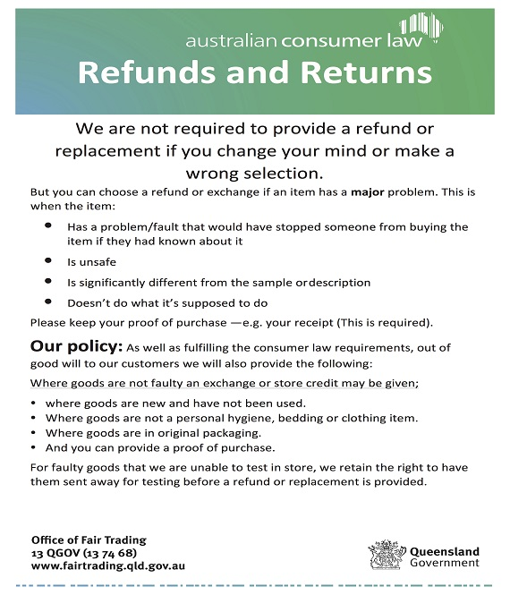Return policy for Returns policy template